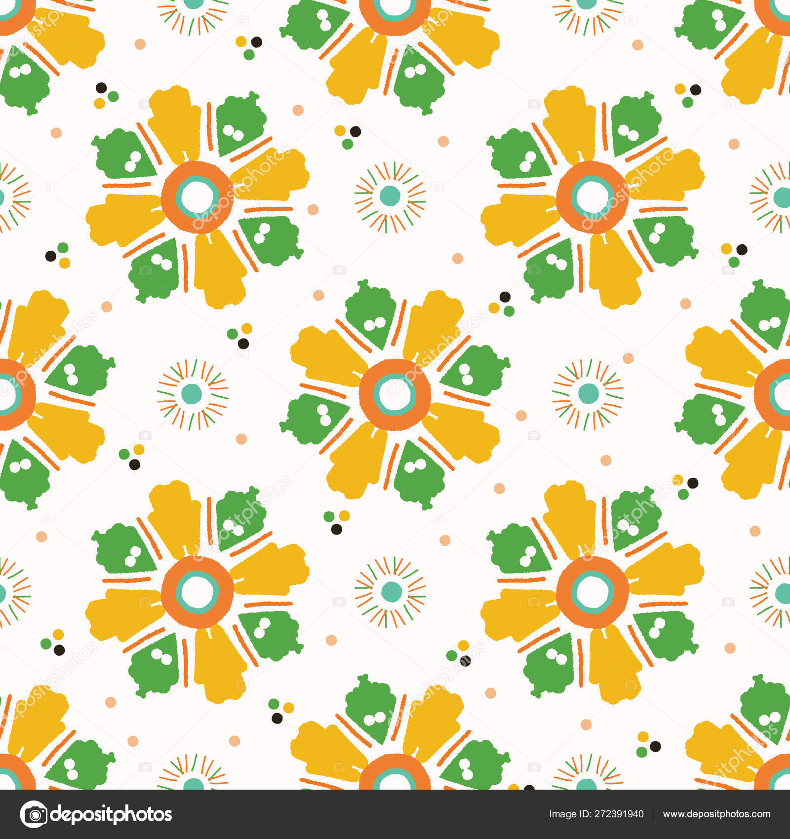 Retro Bold Floral Daisies Seamless Pattern All Over Print