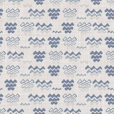 Seamless french farmhouse linen geometric block print background. Provence blue gray rustic pattern texture. Shabby chic style old woven blur textile all over print.
