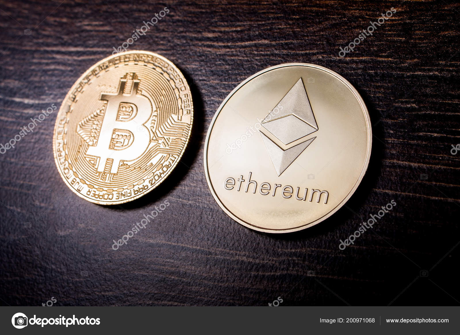 Golden Bitcoin Ethereum Crypto Currency Physical Real Metal
