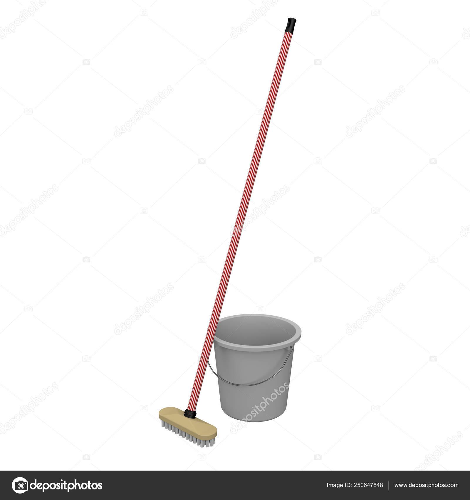 Un seau et un balai brosse pour laver le sol. 10