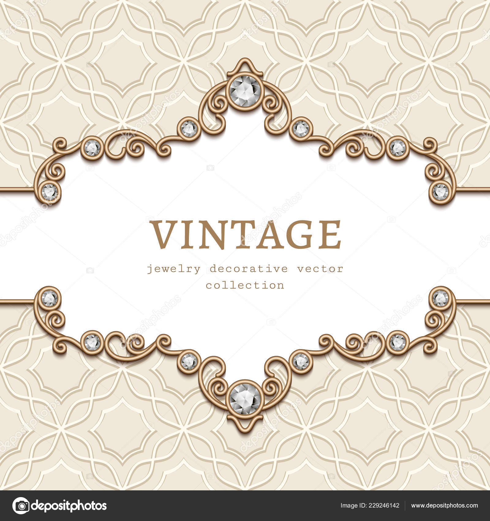 Vintage Frame Diamond Jewellery Border Pattern Elegant
