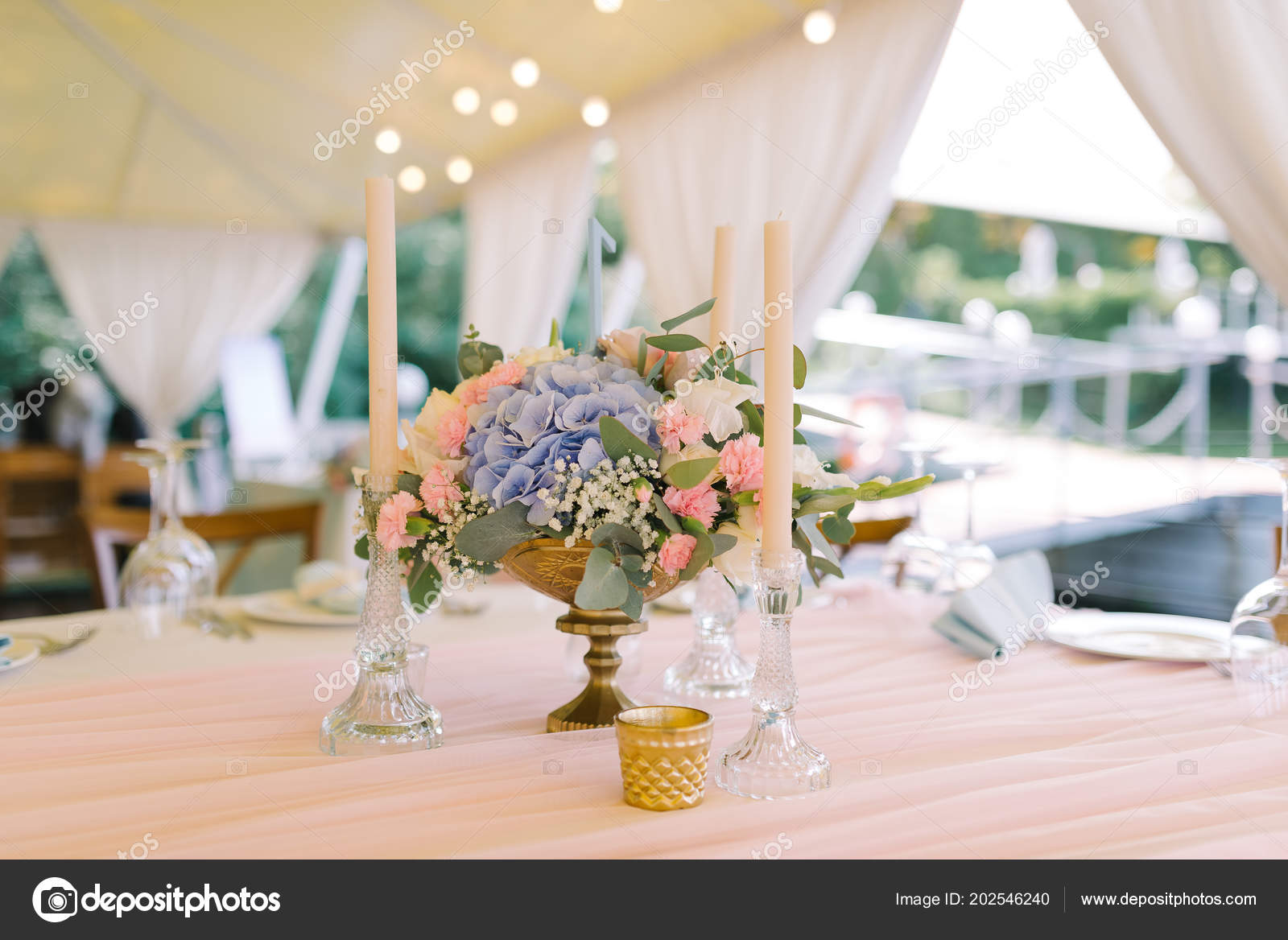 Beautiful Wedding Decor On Round Tables In Gentle Flowers Stock Photo Image By C Olgaburtseva 202546240