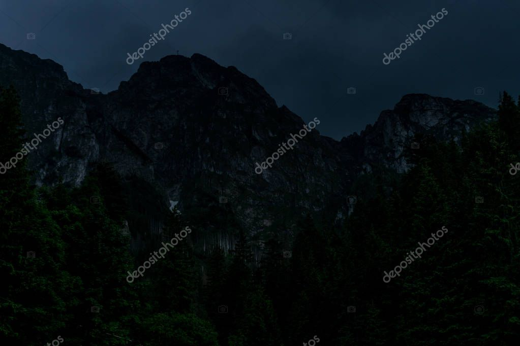 Mountain landscape, valley and beautiful blues sky with clouds