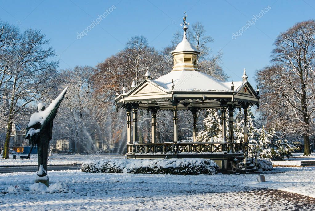 Apeldoorn, the Netherlands - 2008-11-24 Oranjepark: Music kiosk  in the snow.  A winter scenery.