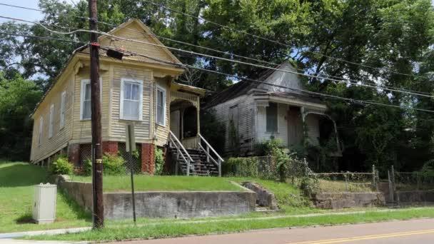 Régi elhagyott épület a belvárosban Natchez, Mississippi, Amerikai Egyesült Államok. Gazdasági válság és a depresszió, az üres fából készült házak és nyaralók