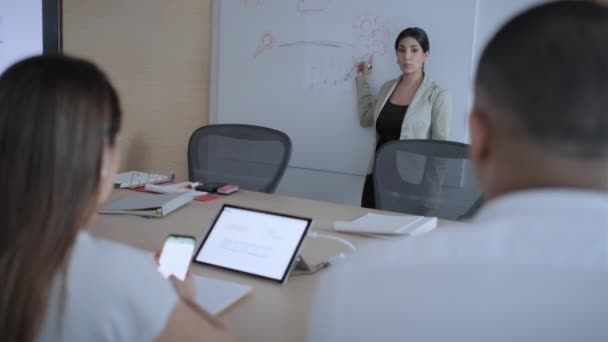 Confident Businesswoman Showing Board To Workers In Office Meeting Room