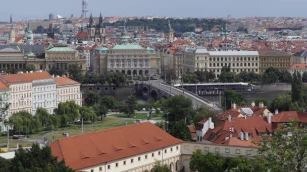 Urban view of Prague, Czech Republic, Europe. Czech city center panorama with buildings, landmark, monument, bridge