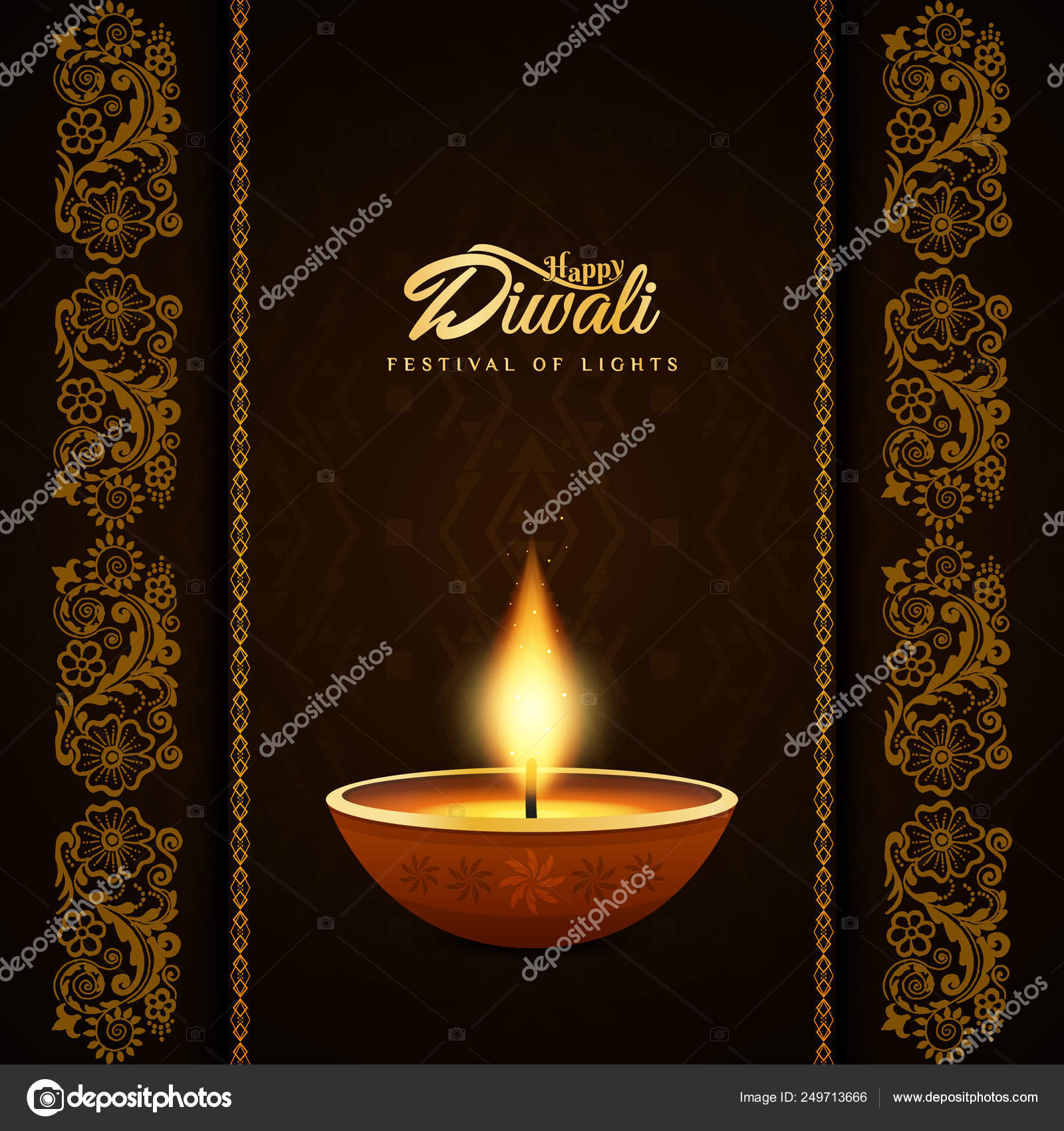 Abstract Beautiful Happy Diwali Festival Background Stock