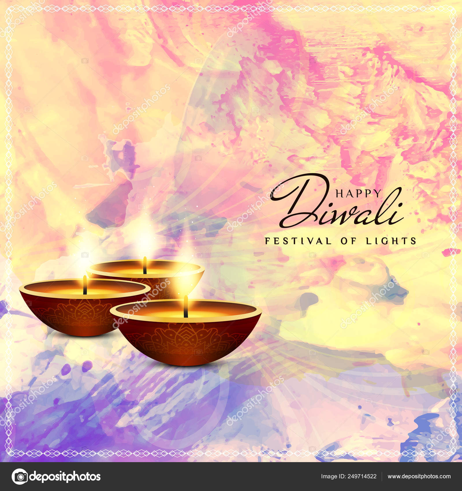 Abstract Religious Happy Diwali Festival Background Stock