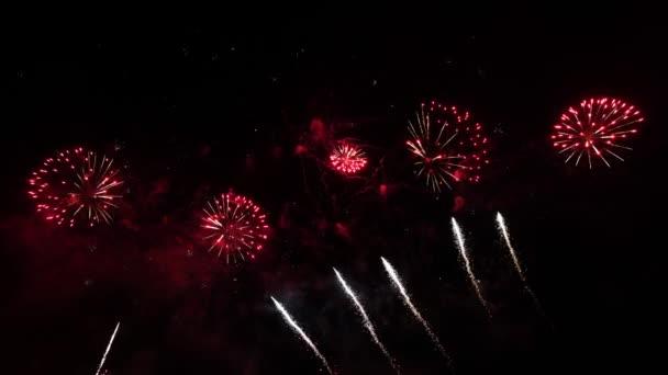 zblízka barevné abstraktní futuristické ohňostroje show noční oblohy