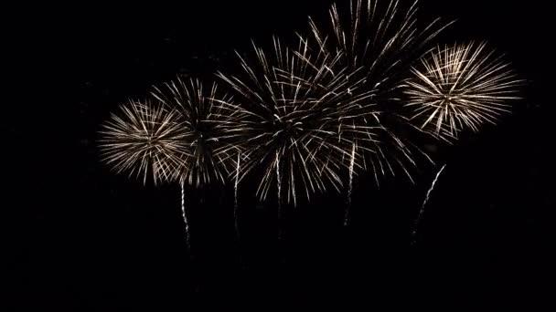 Nahaufnahme von farbenfrohen abstrakten futuristischen Feuerwerken zeigen den Nachthimmel