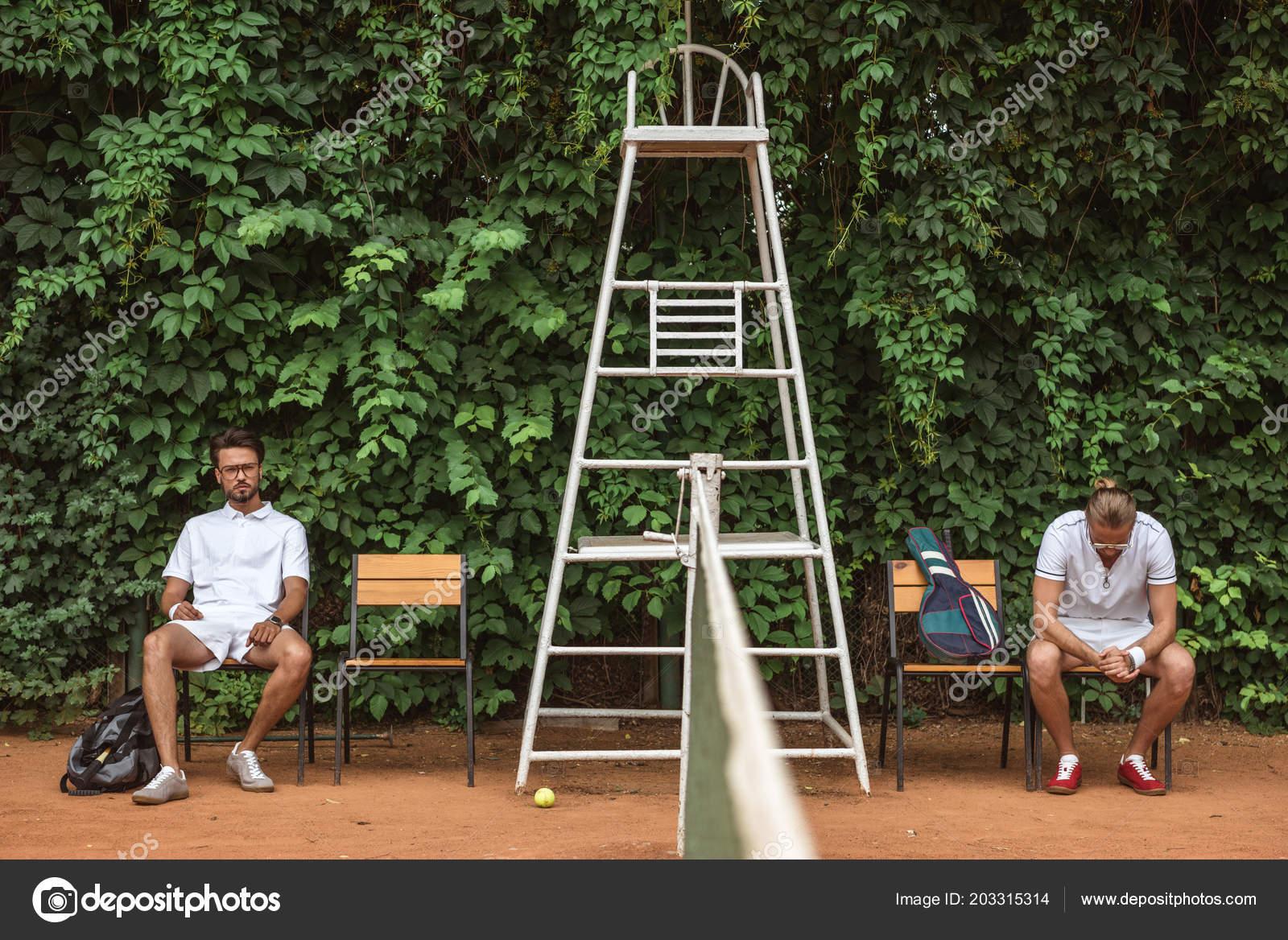 Tennis Players Resting Training Chairs Court U2014 Stock Photo