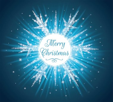 White circle with Merry Christmas text. Sparkles in a shape of a snowflake on the blue background.