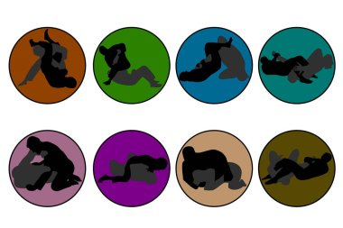 Set of 8 icons of different colors Jiu Jitsu