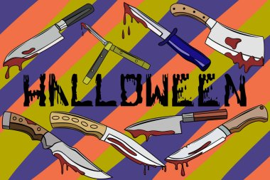 A set of bloodstained knives. The set of knives on Halloween. Drops and splashes of blood, Halloween poster. Wallpapers for Halloween party.