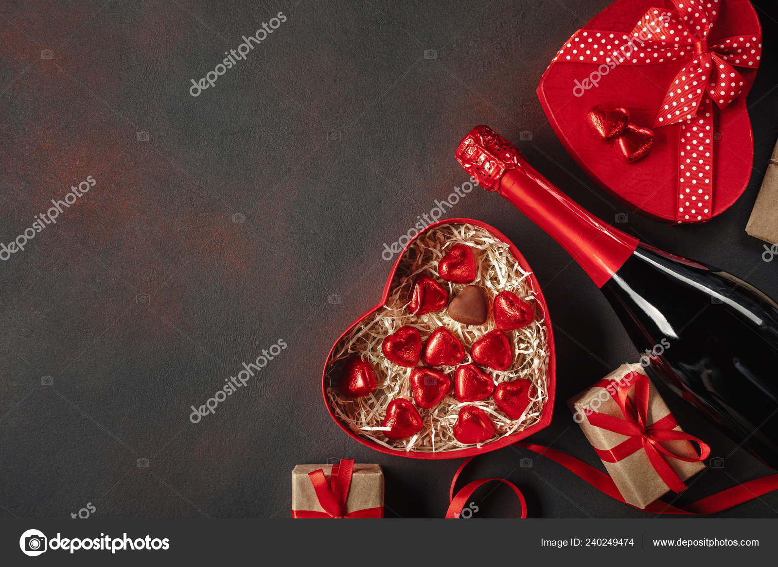 Valentine Day Box Chocolates Form Heart Gifts Champagne Top View Stock Photo C Dzlab 240249474