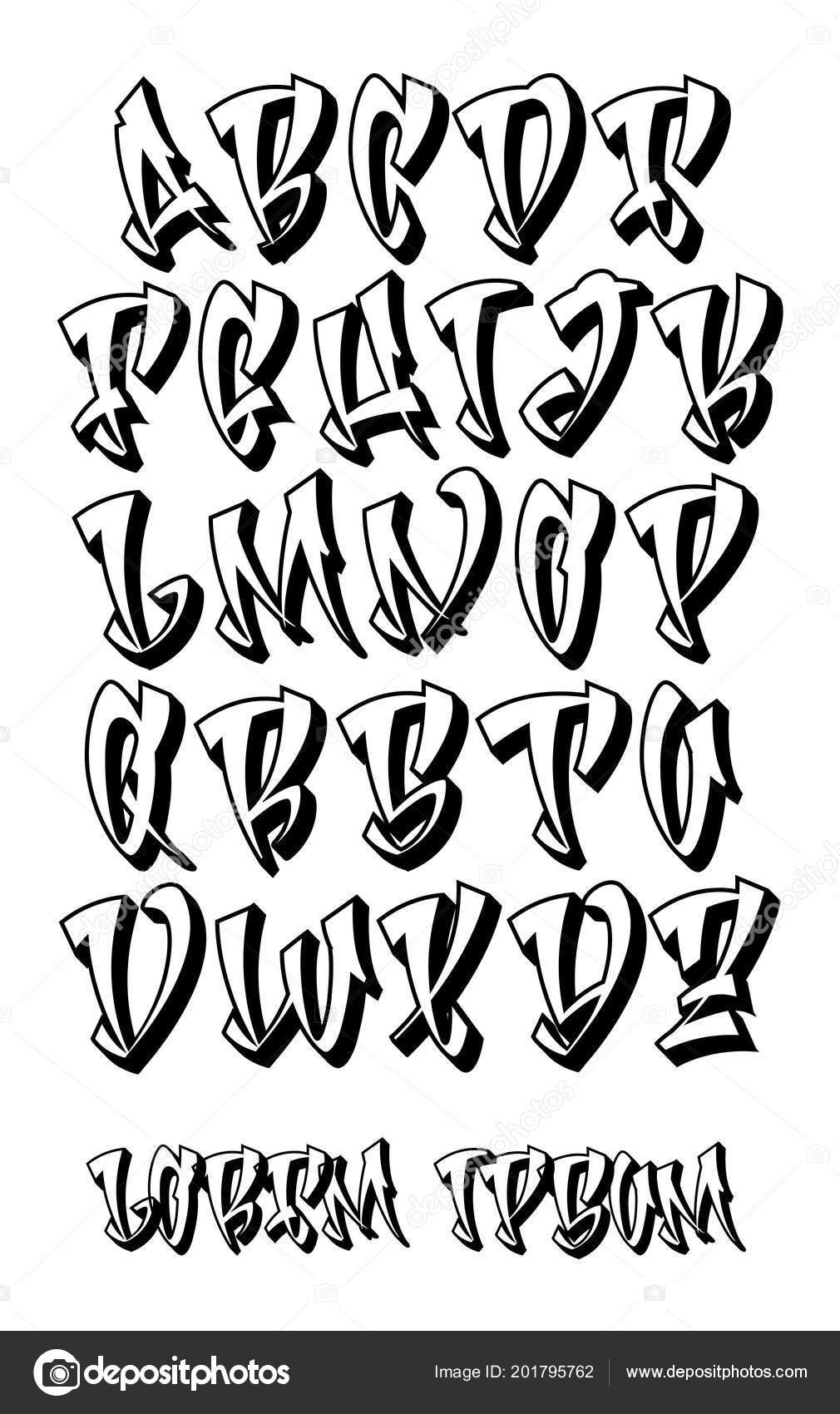Vectorial font in graffiti hand written 3d style capital letters alphabet