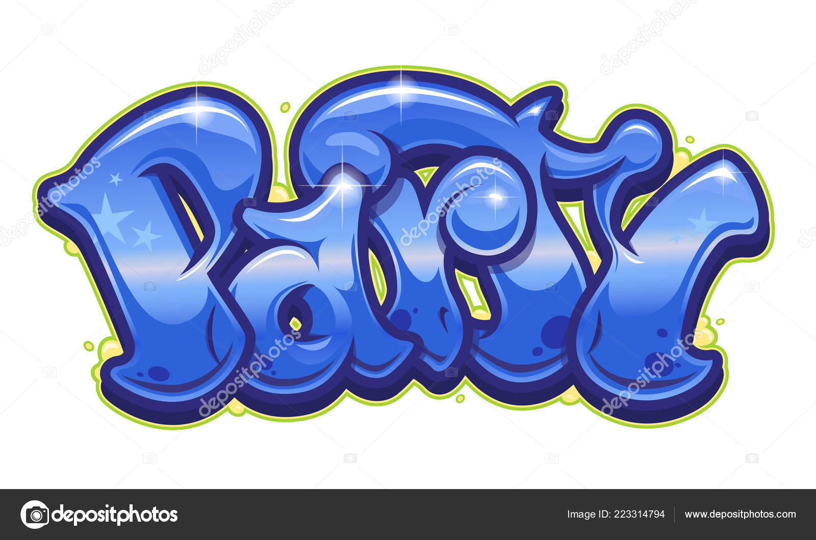 Party word readable graffiti style vibrant customizable colors stock vector