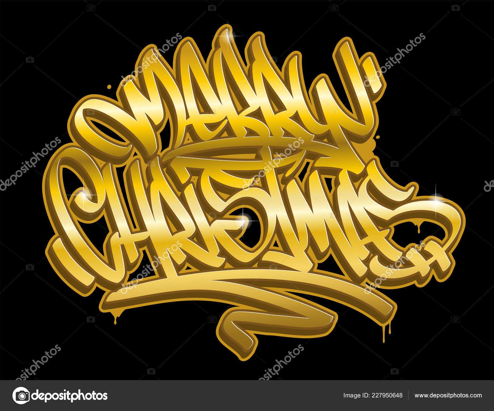 Christmas Graffiti Background.Merry Christmas Lettering Greeting Card Graffiti Style