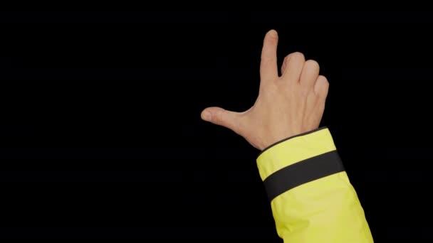 Dotykové displeje gesta Základní pracovník v hi-viz pracovních oděvů