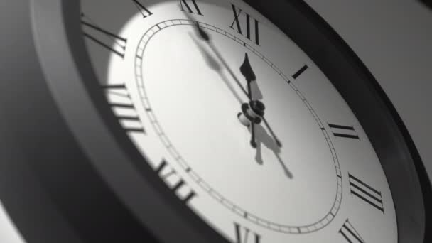 Latin Clock Face in Time Lapse on White Wall