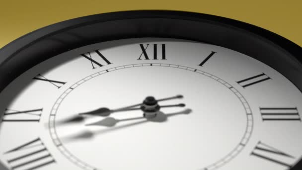 Latin Clock Face On Yellow Wall