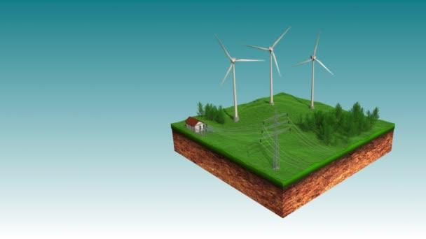 Větrná elektrárna odesílání Eco Power na animaci přenos elektrické energie