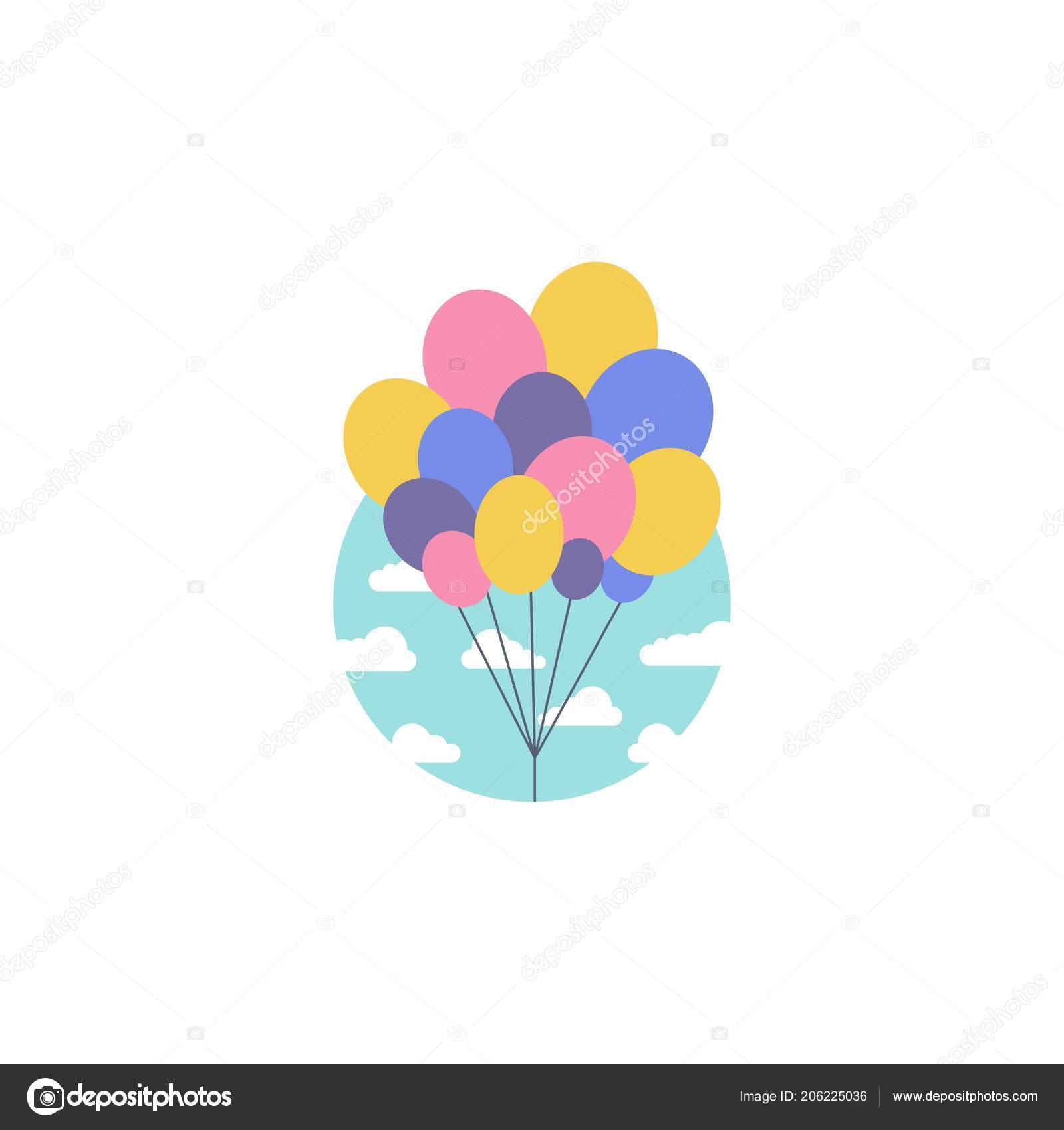 flat vector illustration of colored balloons in the sky invitation