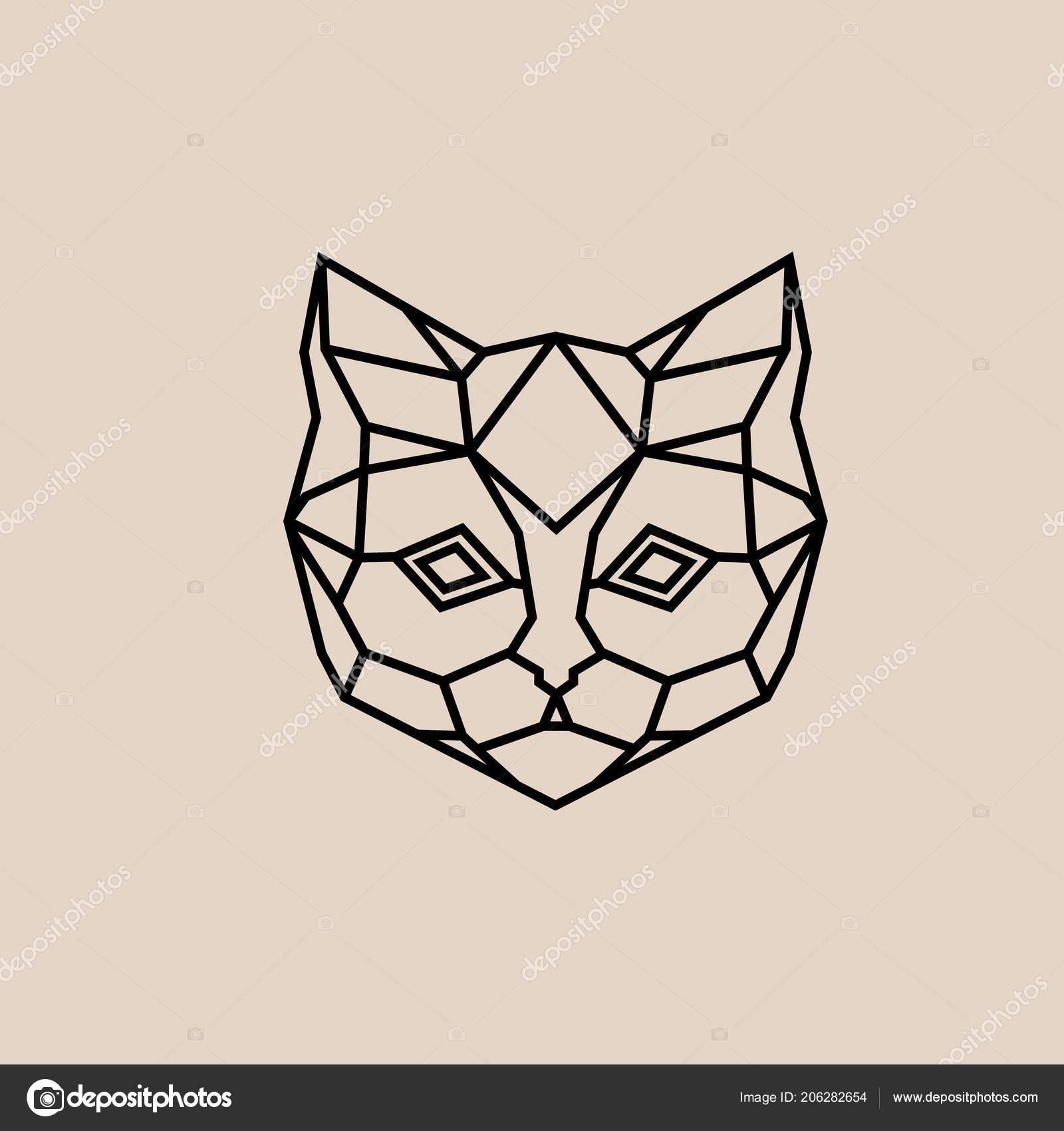 Geometrique Lineaire Chat Polygonale Tete Abstraite D Un Chat