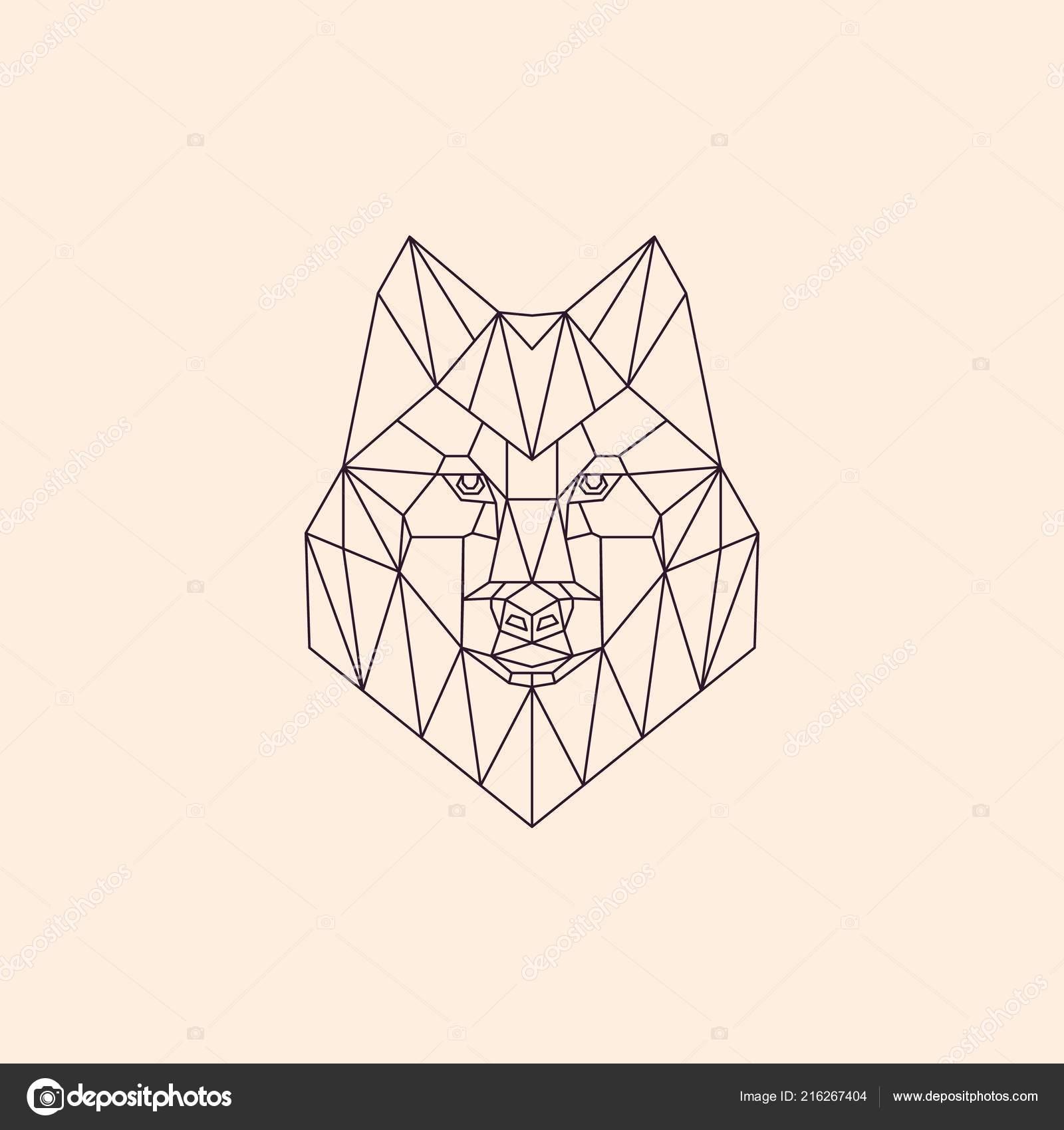 Geometrique Lineaire Loup Polygonale Tete Abstraite D Un Loup