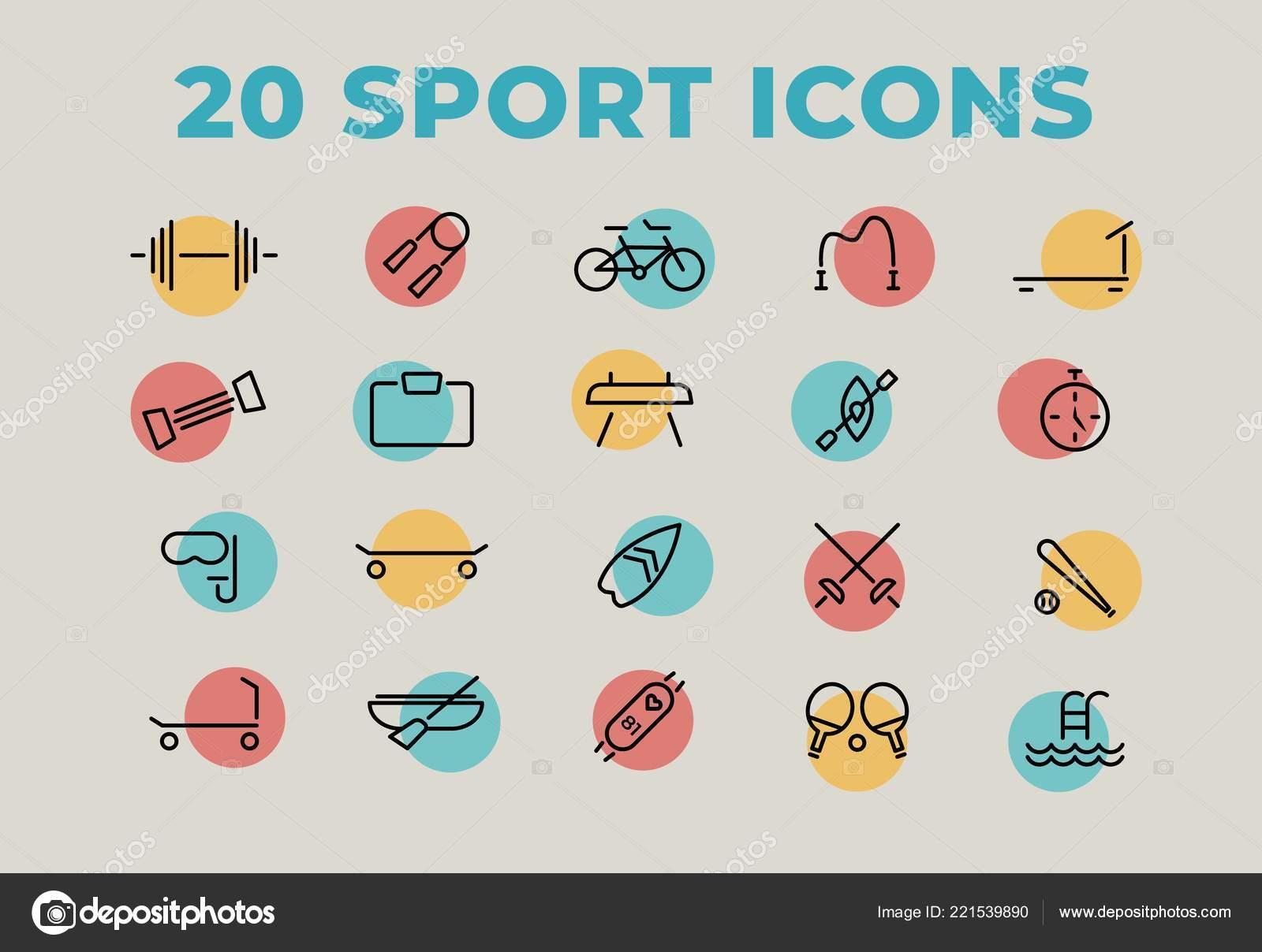 6ea14fd7c Ícones do esporte definido em cores modernas. Elementos de estrutura de  tópicos da web.