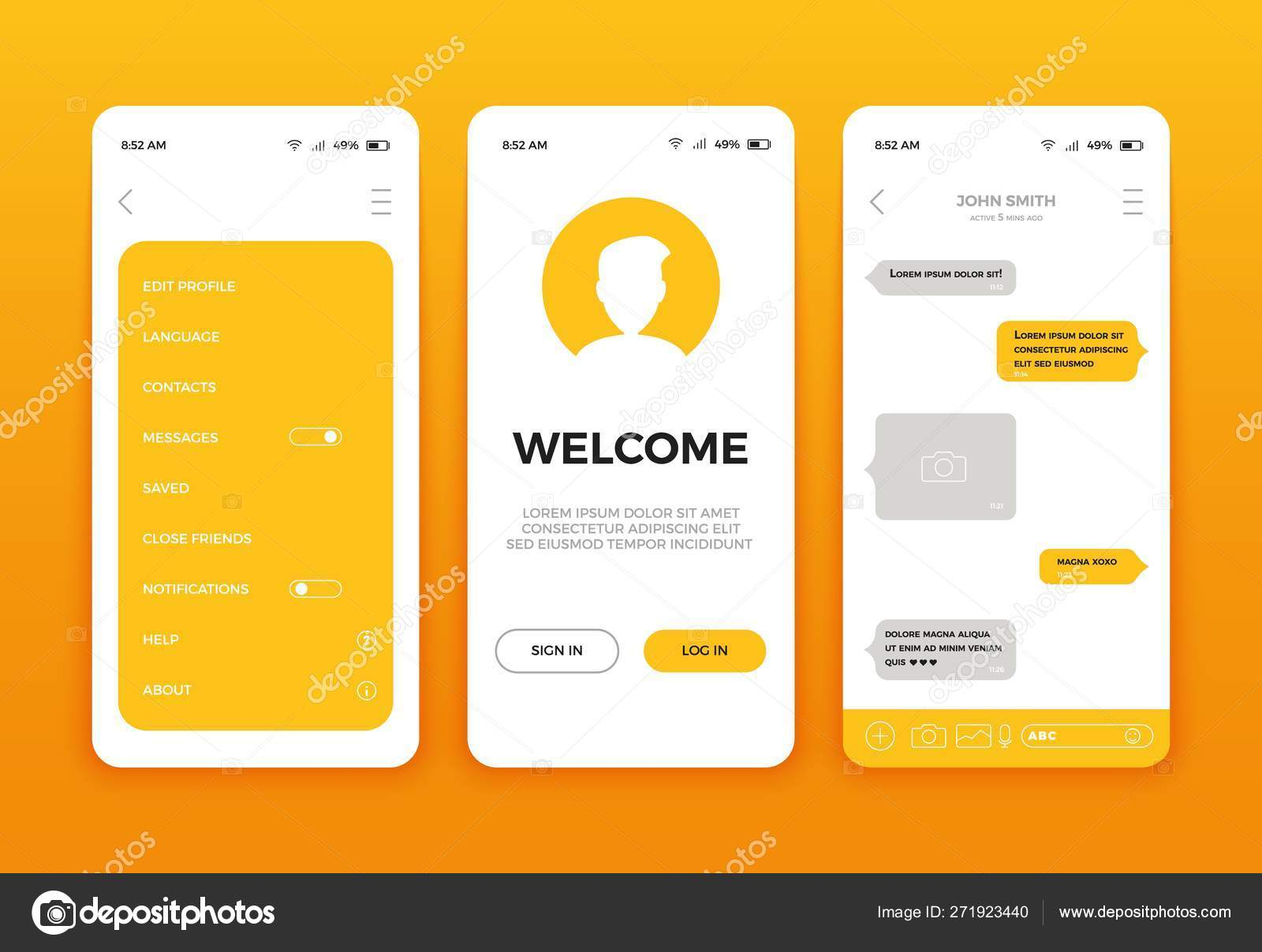Mobile App User Interface Screen Design Vector Set Of Modern Ui Ux Gui Screens And Web