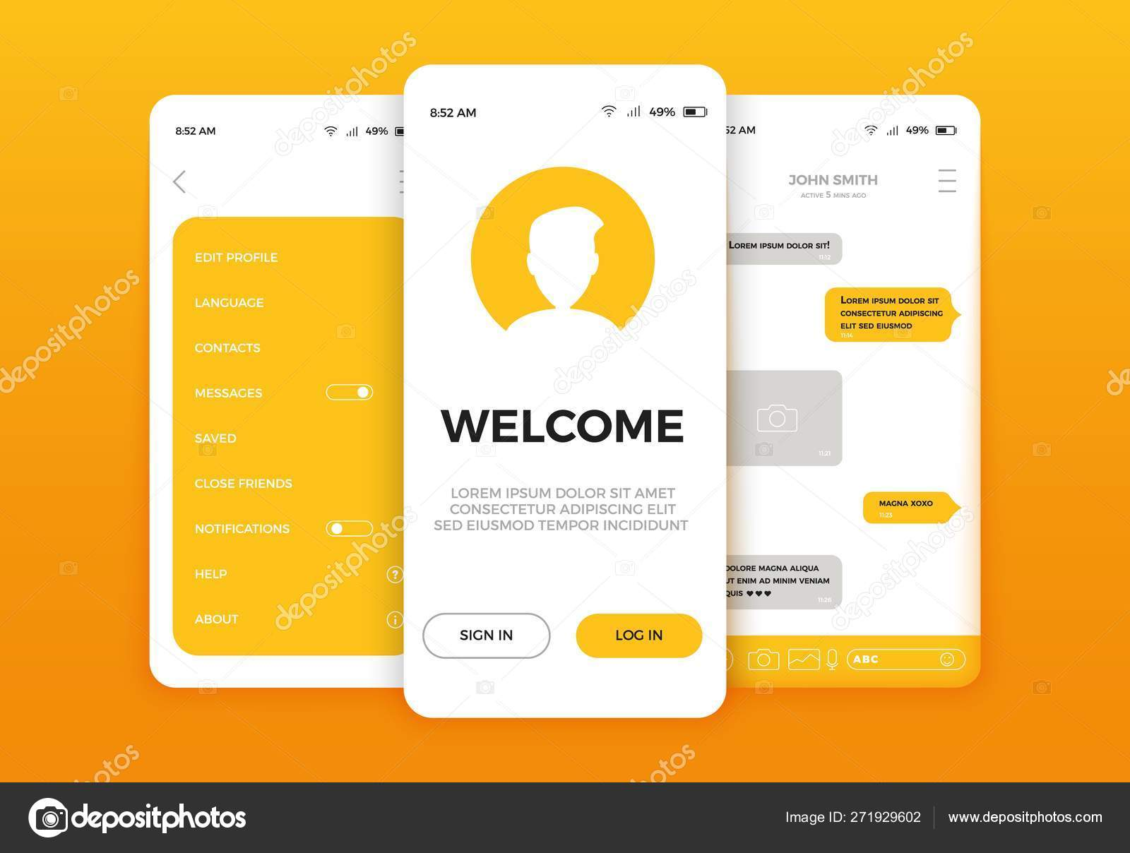 Mobile App User Interface Screen Design Mobile Ui Kit With Welcome Window Registration Home Page Concept