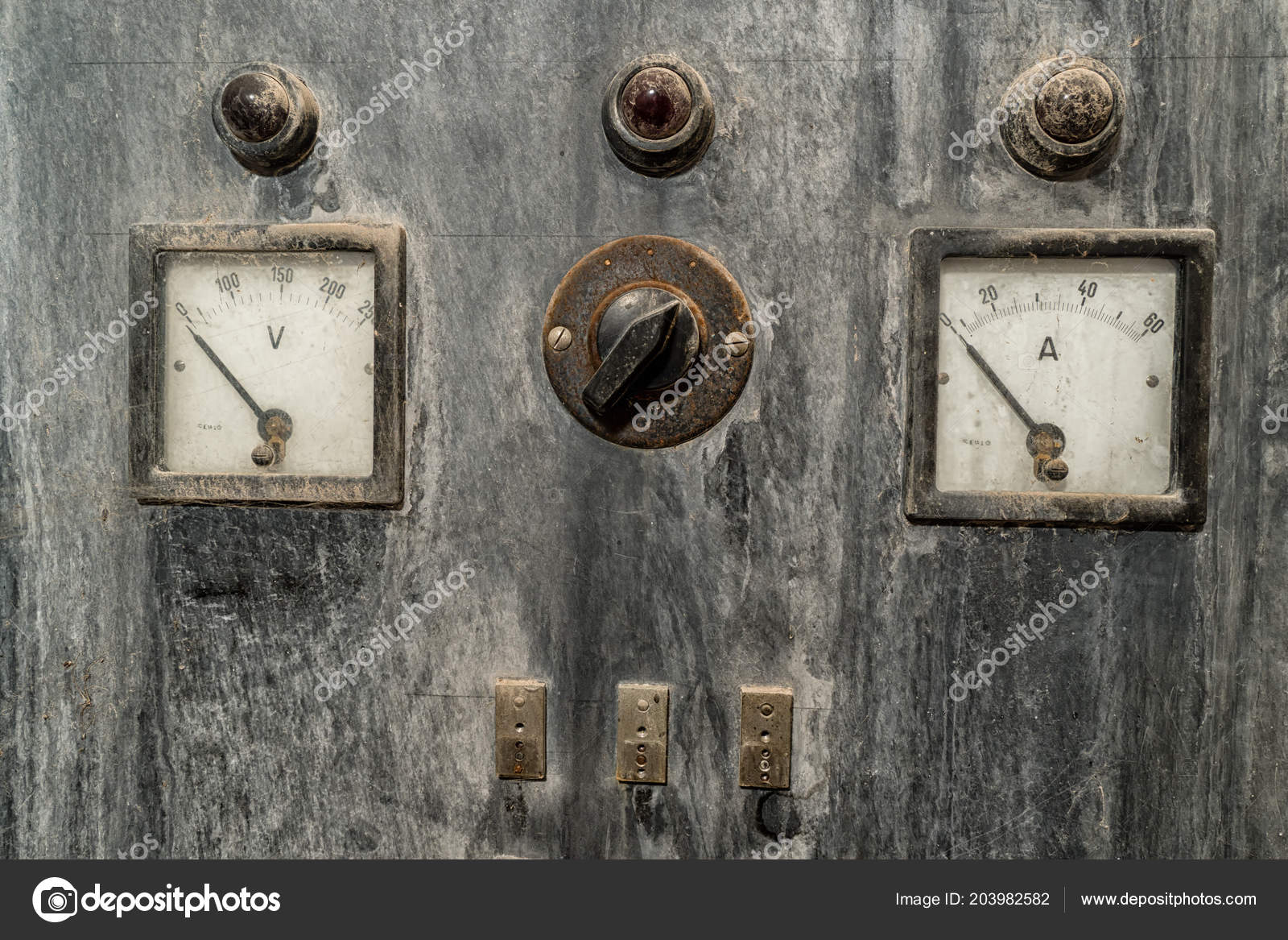 Vintage Volt and Ampere Meter with lights and switches in rusty cabinet u2014 Stock Photo & Vintage Volt and Ampere Meter with lights and switches in rusty ...