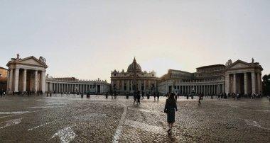panoramic view of Saint Peter Basilica at sunrise, Vatican