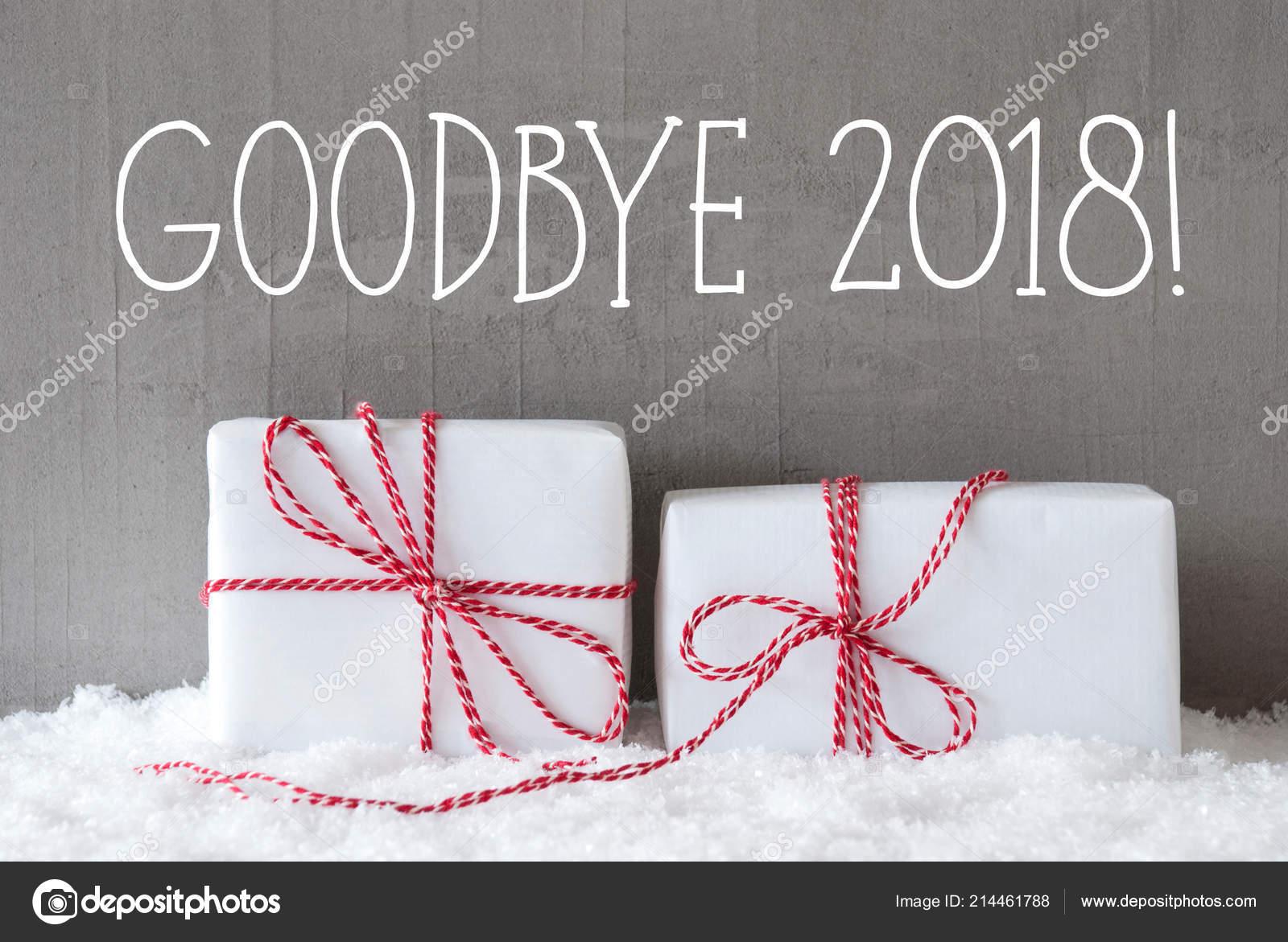 Twee Geschenken Met Sneeuw Engels Tekst Goodbye 2018