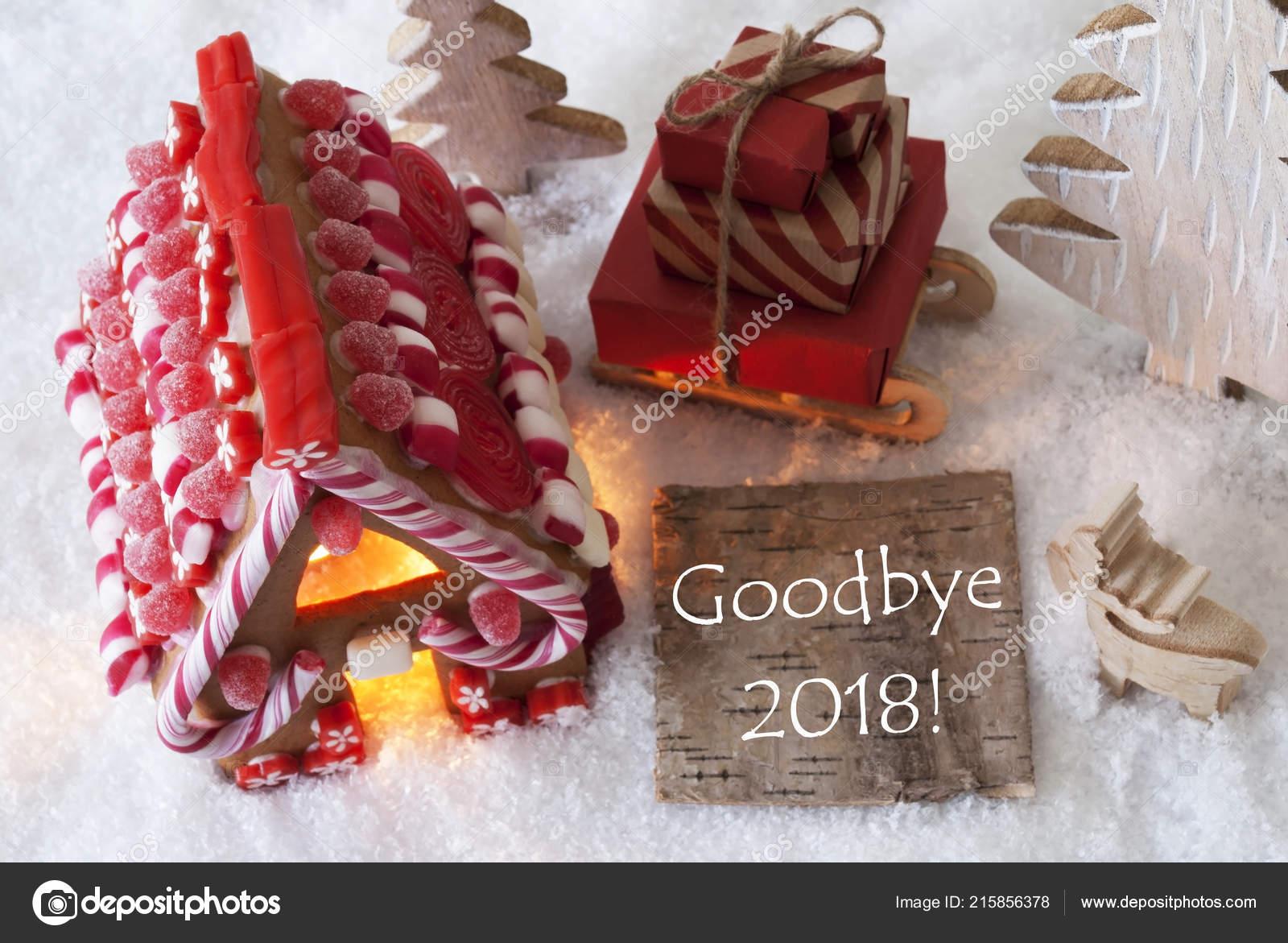 Peperkoek Huis Slee Sneeuw Engels Tekst Goodbye 2018
