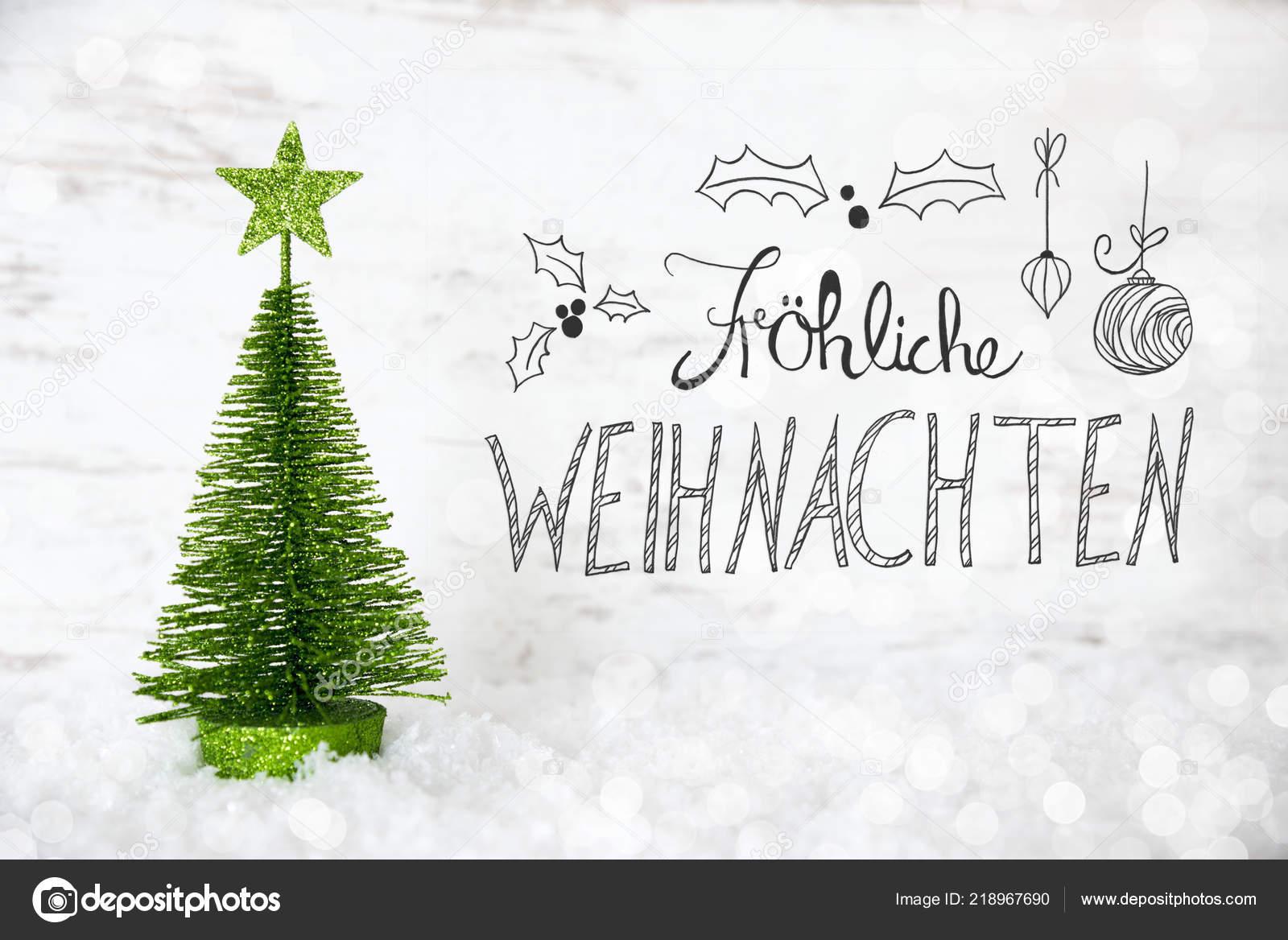 Green Tree, Snow, Calligraphy Froheliche Weihnachten Means Merry ...
