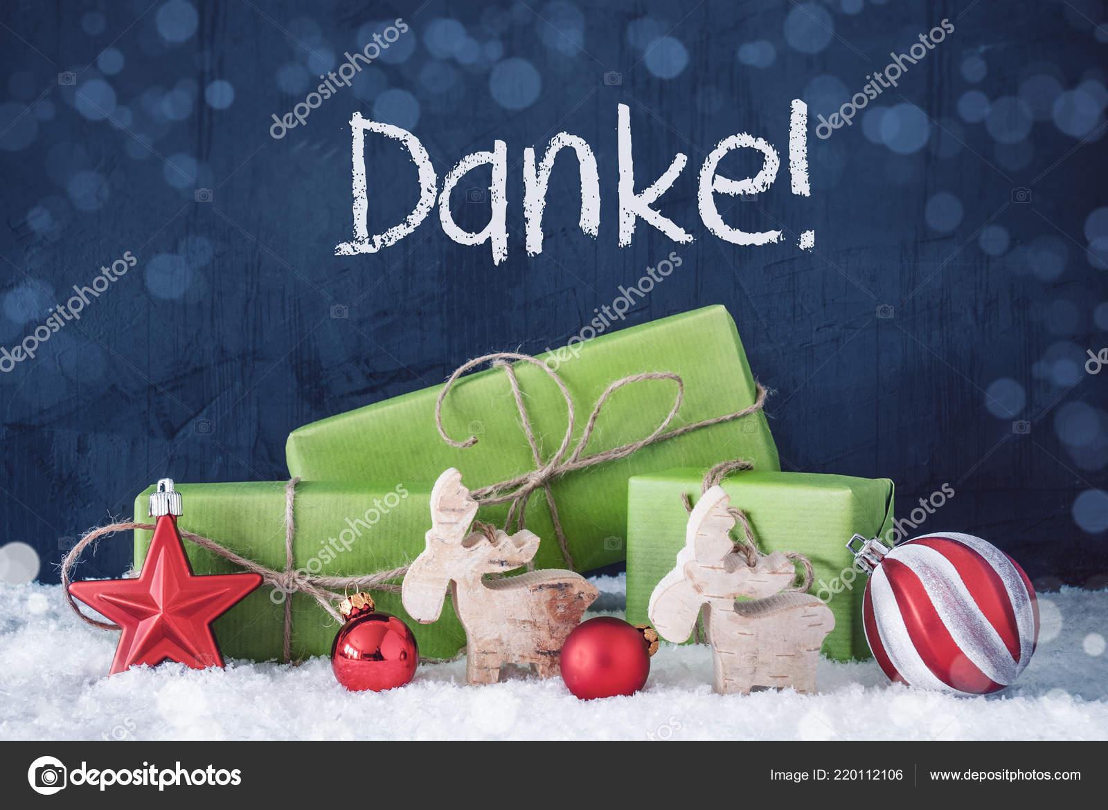 Grüne Weihnachten Geschenke, Schnee, Mittel Danke danke — Stockfoto ...