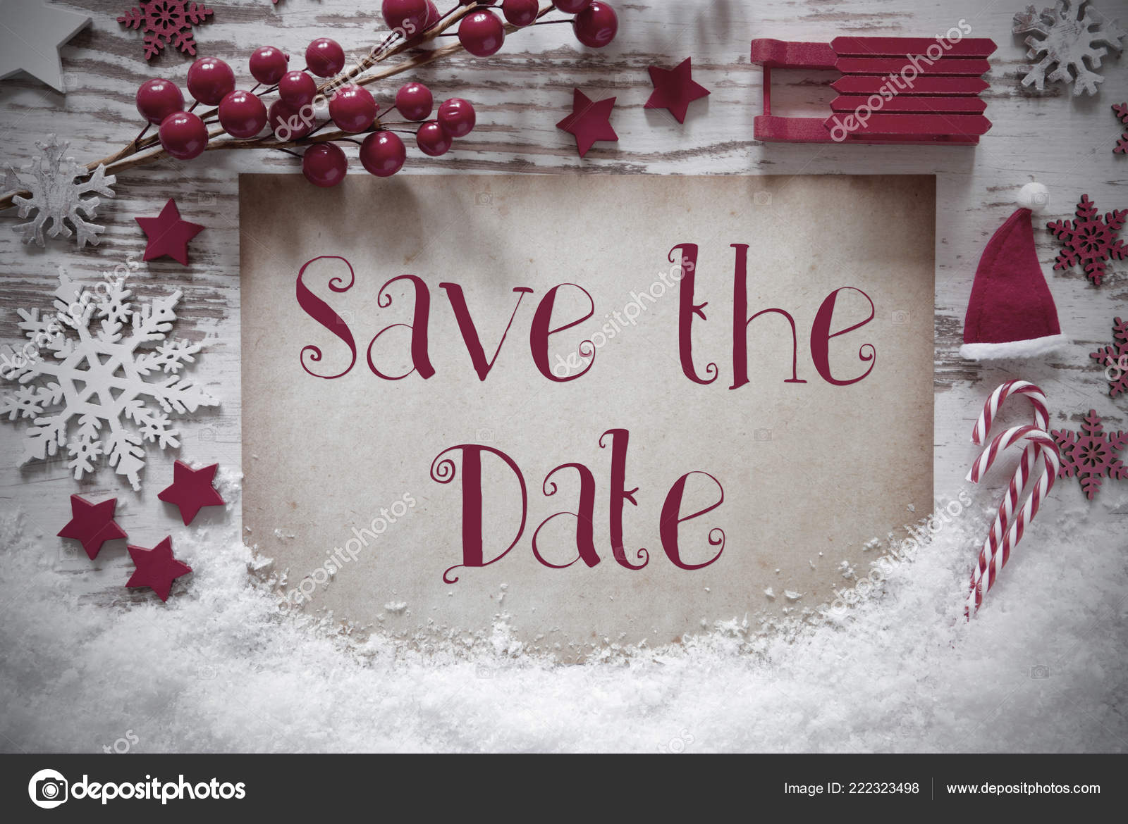 Christmas Save The Date Graphics.Red Christmas Decoration Snow English Text Save The Date