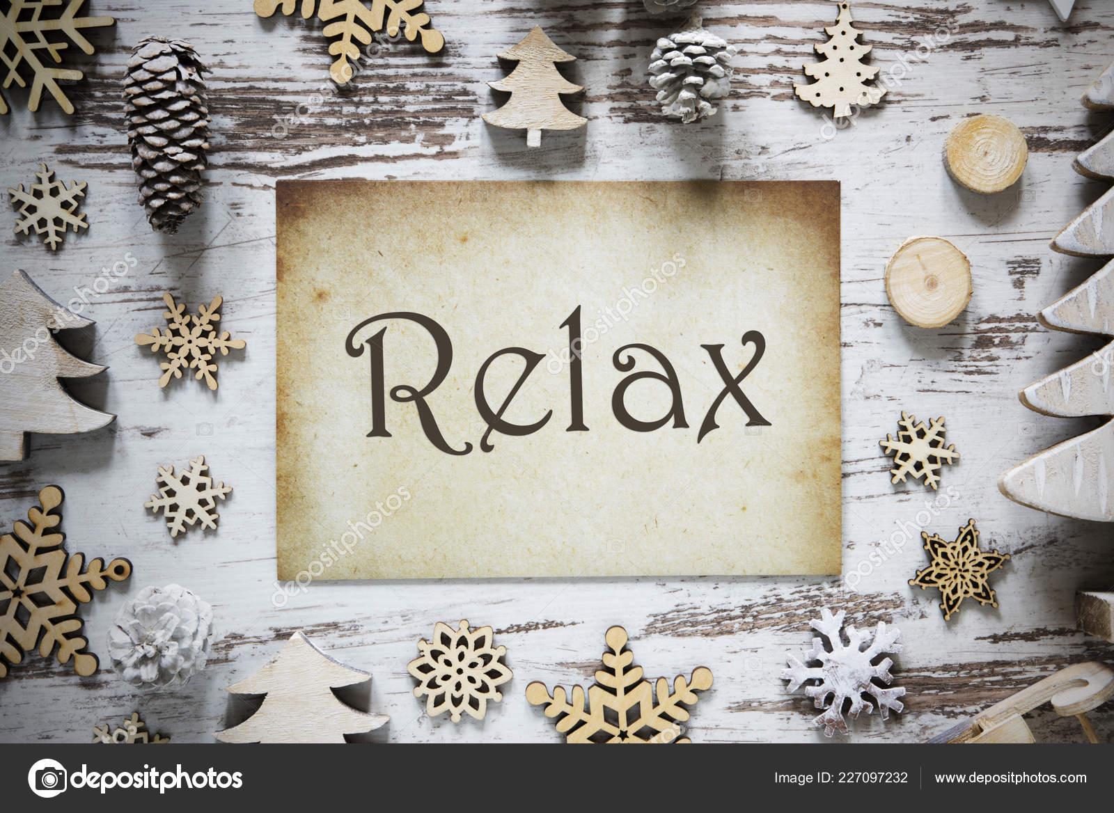 Arbre Bois Blanc Decoration décoration de noël rustique, papier, texte anglais relax