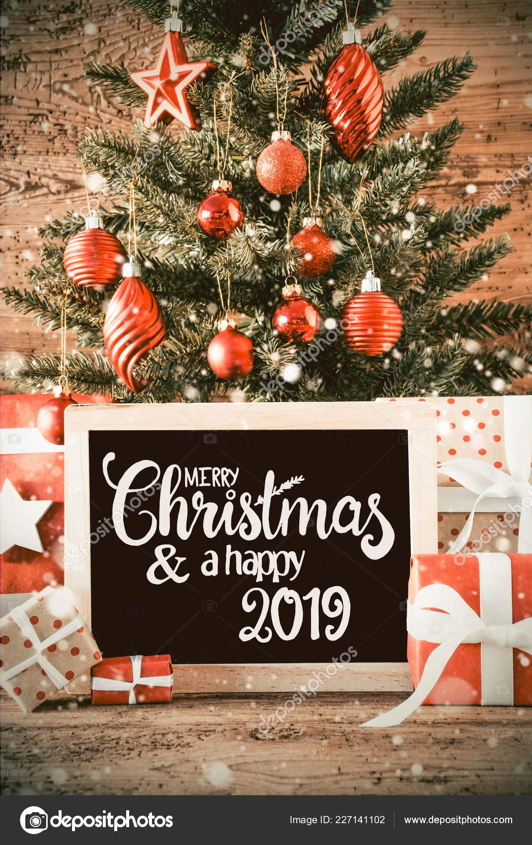 Weihnachten Geschenke 2019.Vertikale Baum Geschenke Kalligraphie Frohe Weihnachten Und Ein