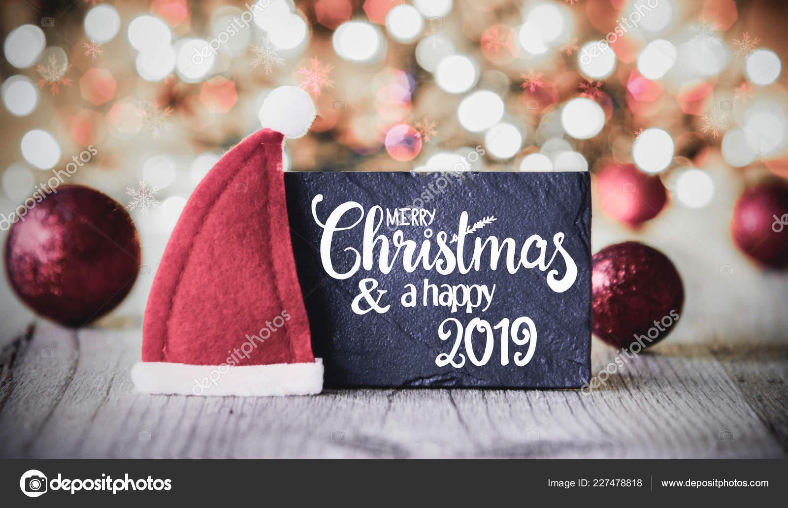 Piastra Con Calligrafia Inglese Buon Natale Felice Anno 2019 Sfondo