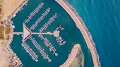 top view of harbour with lot of yachts in blue sea, Ashdod, Israel