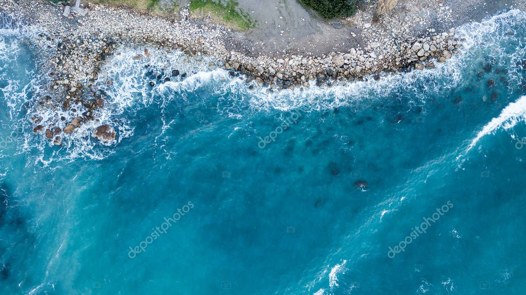 aerial view of beautiful blue sea with rocky coast, Israel