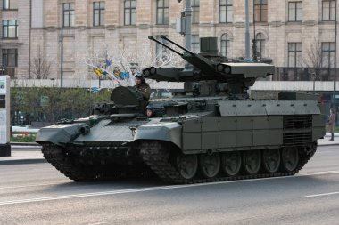 Moscow, Russia - 04 29 2019: Rehearsal of the victory parade on may 9. Military equipment on Tverskaya street
