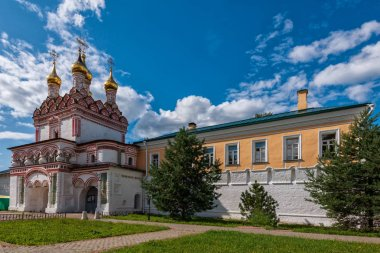 There is a magnificent church above the gates of the monastery. Russian shrines. Joseph-Volotsky Monastery in Teryaev. Moscow region, Teryaevo.
