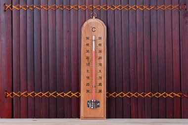 brown wooden thermometer indoor