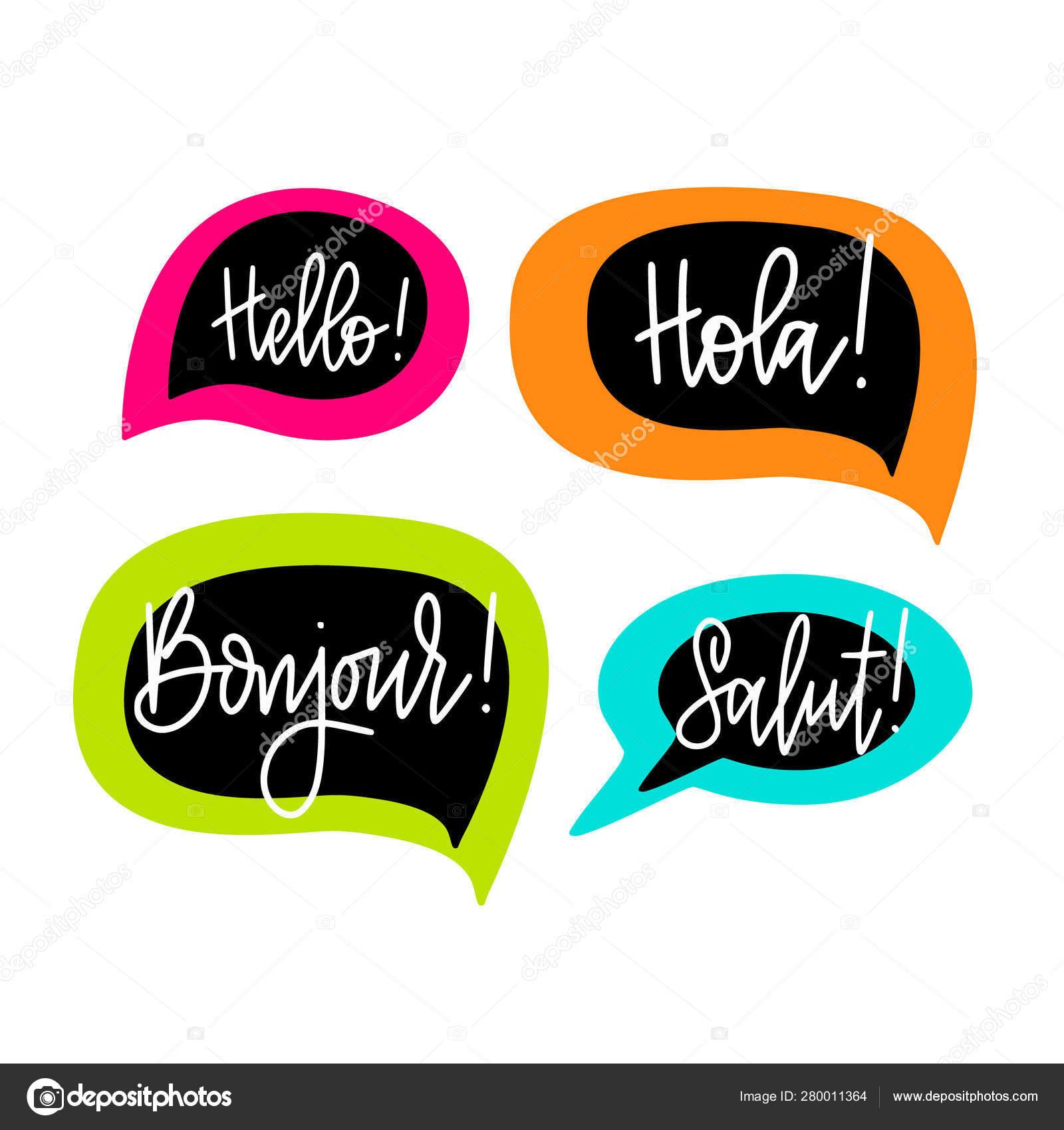 Hola Discurso Burbujas Letras Vectoriales Inglés Francés Y