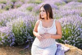 Fotografie pregnant woman sitting on hay bale in violet lavender field, touching belly and looking away